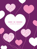 Vector pink flowers lineart heart symbol frame Royalty Free Stock Photography