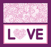 Vector pink flowers lineart love text frame Stock Photography