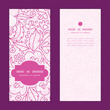 Vector pink flowers lineart vertical frame pattern Royalty Free Stock Image