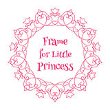 Vector Pink Frame with Hearts over white Royalty Free Stock Image