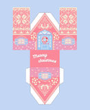 Vector Pink Gingerbread House Template. Cute Printable gift with christmas glaze elements. Stock Images