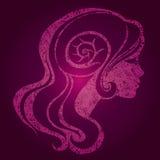 Vector pink girl with beautiful hair Stock Photos