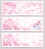 Vector pink glitter banners. Stock Photography