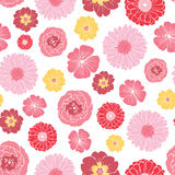 Vector Pink Gold Field Flowers Seamless Pattern. Graphic design Stock Photos