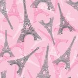 Vector Pink Grey Eifel Tower Paris Seamless Repeat Pattern. Perfect for travel themed postcards, greeting cards Royalty Free Stock Image