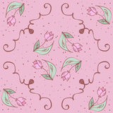 Vector pink hand drawn tulips seamless pattern. Royalty Free Stock Photo