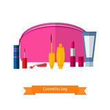The vector pink handbag for cosmetics. Mascara, lipstick, creams and other make-up accessories Royalty Free Stock Images