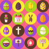 Vector Pink Happy Easter Seamless Pattern with Circles. Pink Happy Easter Seamless Pattern with Circles. Flat Design Vector Illustration. Background. Set of vector illustration