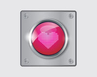 Vector of pink heart button. Vector of glossy button Love on white background royalty free illustration