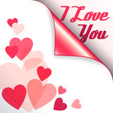 Vector pink heart with curled corner and text I Love You. Vector pink funny heart with curled corner and text I Love You Royalty Free Stock Photo