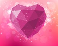 Vector pink heart of polygons Stock Image