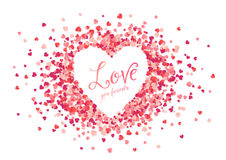 Vector pink hearts confetti heart shape frame with Love you forever sign Royalty Free Stock Image