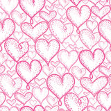 Vector pink hearts seamless repeat pattern background design. Great for romantic Valentine Day cards, wrapping paper Royalty Free Stock Photos