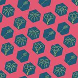 Vector pink hexagonal carnival elements seamless pattern background royalty free illustration