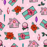 Vector Pink Holiday Christmas Gingerbread Houses Royalty Free Stock Photography