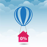 Vector pink house icon is flying on blue balloon with percent sign over little white balloons Royalty Free Stock Images