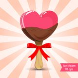 Vector. Pink ice cream with chocolate glaze Royalty Free Stock Photography