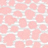 Vector pink lilies seamless pattern on gray stripped background. Vintage floral design. Royalty Free Stock Image