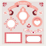Vector pink love set ornament Stock Photos