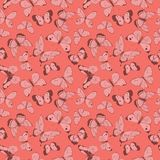 Vector pink and maroon flying butterflies seamless pattern on coral background. Vector colorful flying butterflies seamless pattern background. Perfect for royalty free illustration