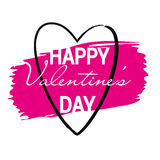 Vector pink paint stroke with heart. Happy Valentine`s day Stock Photo