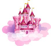Vector pink princess magic castle. The  illustration of pink princess magic castle in a clouds