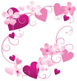 Vector pink and purple hearts frame with floral decor Stock Photos