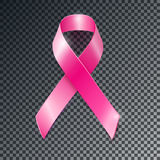 Vector pink ribbon breast cancer awareness symbol. Realistic vector pink ribbon, breast cancer awareness symbol, isolated on transparent background Royalty Free Stock Photos