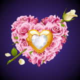 Vector pink Roses and white crystal in the shape of heart Royalty Free Stock Images