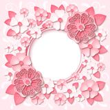 Vector pink round frame with 3d paper cut out flowers Royalty Free Stock Images