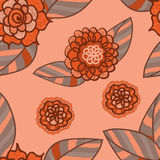 Vector pink seamless pattern with doodle flowers. Royalty Free Stock Images