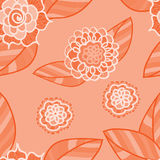 Vector pink seamless pattern with doodle flowers. Royalty Free Stock Photo
