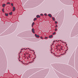 Vector pink seamless pattern with doodle flowers. Royalty Free Stock Photos