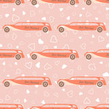Vector pink seamless pattern with wedding car Stock Photo