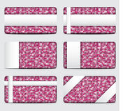 Vector pink sequin gift cards. Eps 10. Royalty Free Stock Photos