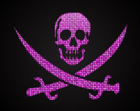 Vector pink sequin skull. Jolly Roger.  Eps 10. Royalty Free Stock Images