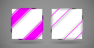 Vector pink and silver christmas corner ribbons Royalty Free Stock Photo