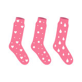 Vector pink socks with a pattern drops and bubbles hearts Royalty Free Stock Photo