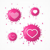 Vector Pink Splash Heart Symbols Set Stock Photography