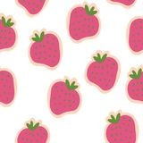 Vector Pink strawberries green leave seamless pattern design vector illustration
