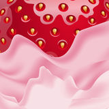 Vector pink and strawberry close-up view. Royalty Free Stock Image