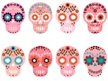 Vector pink sugar skulls with flowers. And floral elements Royalty Free Stock Photo