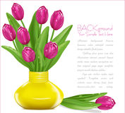 Vector pink tulipsin a yellow vase Royalty Free Stock Images