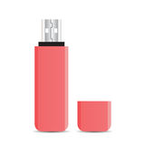 Vector pink USB flash drive isolated on white background Stock Image