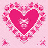 Vector pink Valentine's Day Card with flower hearts Stock Photos