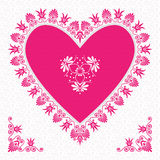 Vector pink Valentine's Day Card with flower hearts Stock Images
