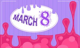 Vector pink and violet card eight march with frame. And drops vector illustration