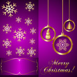 Vector Pink Violet Christmas Invitation Card Stock Photos