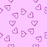 Vector pink wallpaper. Seamless pattern background with hearts. Amour decoration. Celebration for Valentines day. Stock Photography