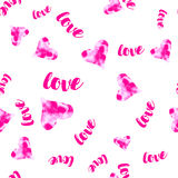 Vector pink Watercolour hearts with love seamless pattern. Romantic background  Royalty Free Stock Photography